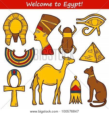 Set of cartoon icons in hand drawn style on Egypt theme: pharaon, nefertiti, camel, pyramid, scarab,