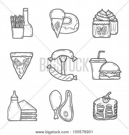 Set of cartoon objects on american food theme: fried potato, hot dog, soda, hamburger, sandwich. Eth