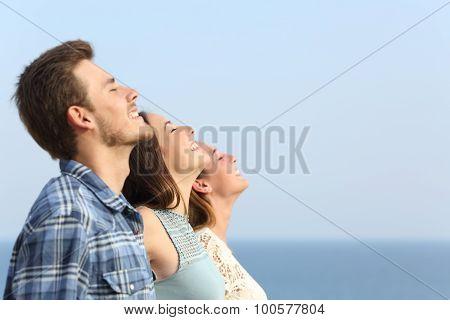 Group Of Friends Breathing Deep Fresh Air