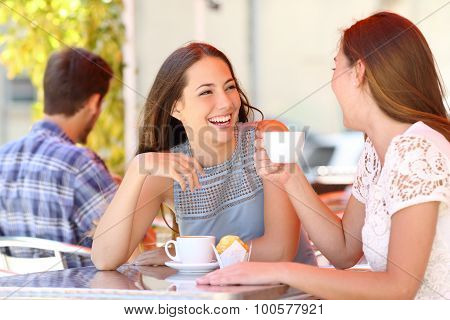 Two friends or sisters talking taking a conversation in a coffee shop terrace looking each other poster