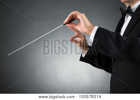 Close-up Of Male Orchestra Conductor Hands Holding Baton poster