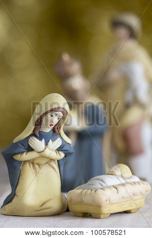 Nativity Scene with Selective Focus