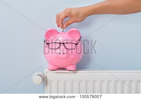 Close-up Of Ma's Inserting Coin In Piggy Bank Kept On Radiator poster