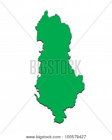 Vector Map of the Country of Albania