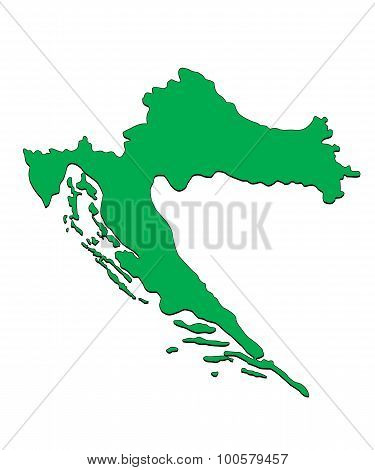 Vector Map of the Country of Croatia