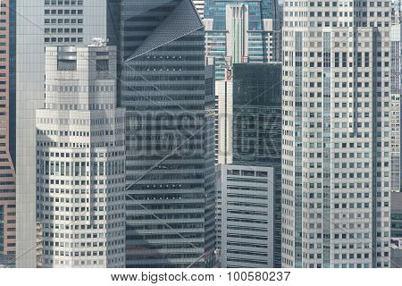 Close Up Structure Of Office Building In Singapore