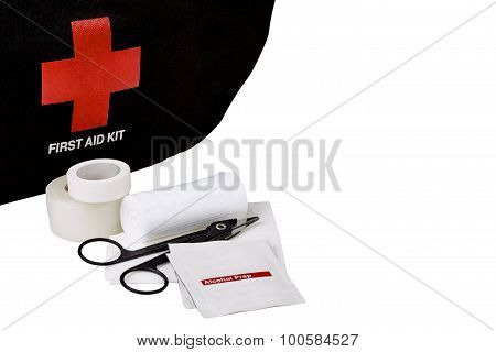 First Aid Kit bag with White gauze bandage roll and pad with alcohol prep wipe medical scissors and medical tape isolated on white poster