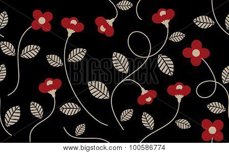 Vintage Red Flower and Leaves Pattern