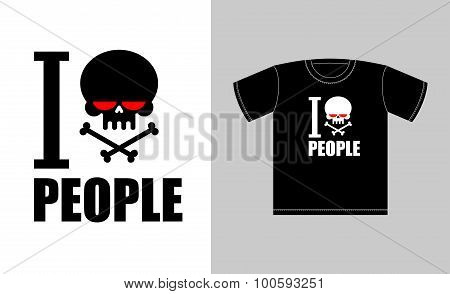 I Hate People. Symbol Of Hatred Skull With Bones. Sign For T-shirts Bully And Punk. Vector Illustrat