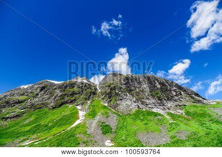 Picturesque Rocks Against Blue Sky, Norwegian Summer Landscape