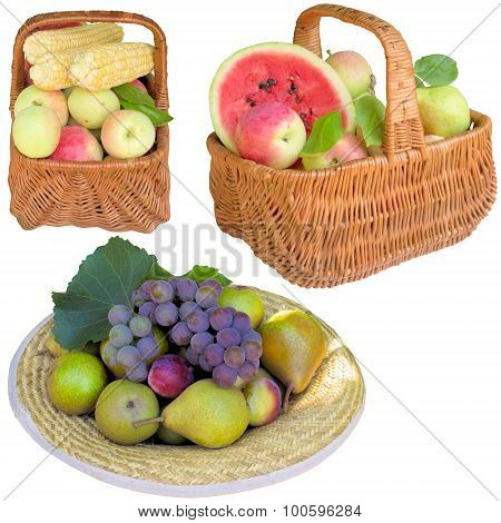 Baskets With Fruit And Vegetables.