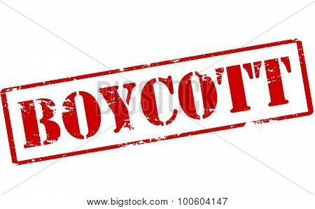 Rubber stamp with word boycott inside vector illustration