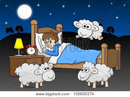 Sheep Jumping Over The Bed Of A Sleepless Man