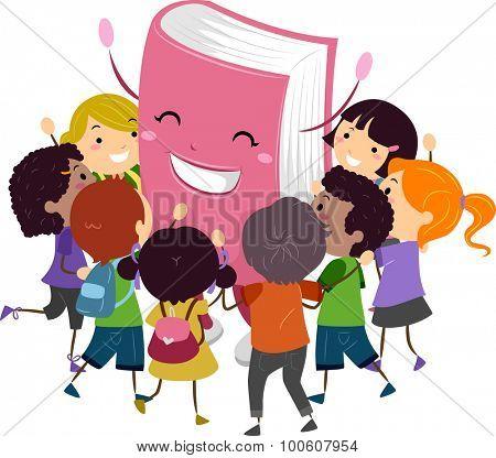 Stickman Illustration of Kids Hugging a Book Mascot