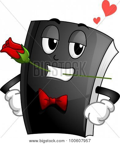 Mascot Illustration of a Suave Book in a Tux and Tie and Clenching a Rose with its Teeth