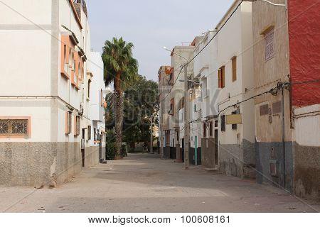 Empty street in Agadir, Morocco.