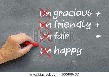 Positive Behavior Concept, Chalkboard With Modified Words Ungracious, Unfriendly, Unfair, Unhappy