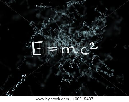 The Theory Of Relativity. Flying Formula. Einstein's Law. Concept Of Education