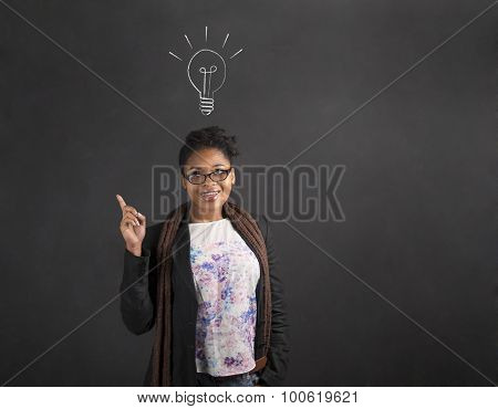 African American Woman Good Idea With Lightbulb On Blackboard Background