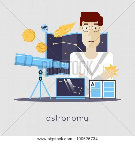 Scientist in laboratory astronomy