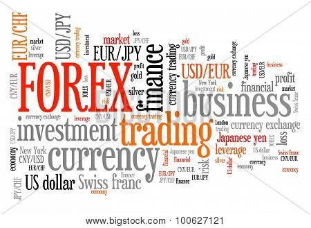 Forex - foreign exchange currency trading word cloud illustration. Tag cloud keyword concept. poster
