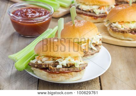Sliders With Beef Brisket, Barbecue Sauce And Coleslaw
