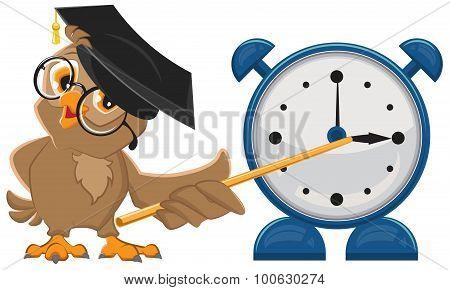 Owl teacher with glasses. Owl teacher shows pointer on the clock. Alarm clock