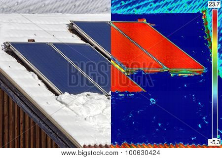 Infrared And Real Image Of Solar Panels