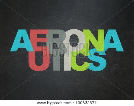 Science concept: Aeronautics on School Board background