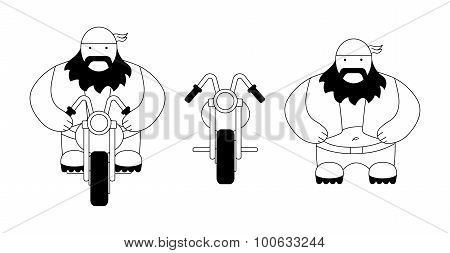 Funny fat round biker with chopper motorcycle. Flat style. Line art. Black and white poster