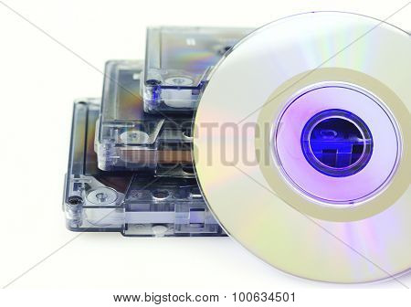 Tapes and CD isolated on white closeup