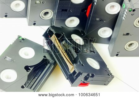 Videotapes isolated on white closeup