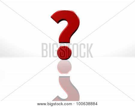 Red Question Mark, 3D Rendering