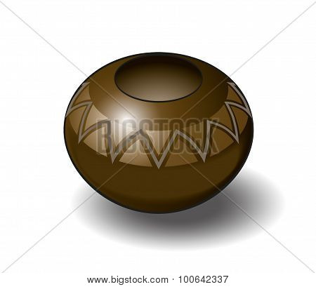 Isometric Vector Illustration of a Zulu Pot