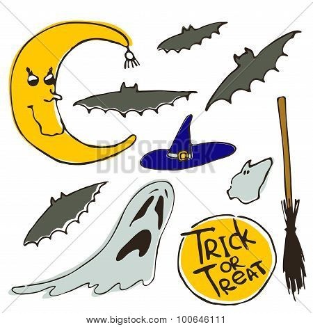 Set of vector halloween design elements