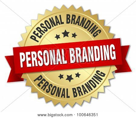 Personal Branding 3D Gold Badge With Red Ribbon