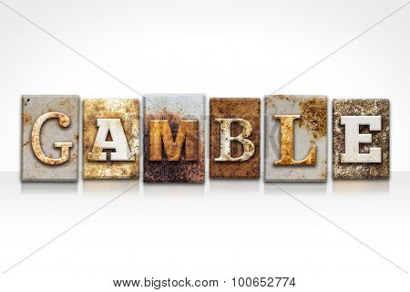 Gamble Letterpress Concept Isolated On White