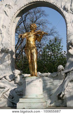 The Statue Of Johann Strauss In Stadtpark In Vienna, Austria