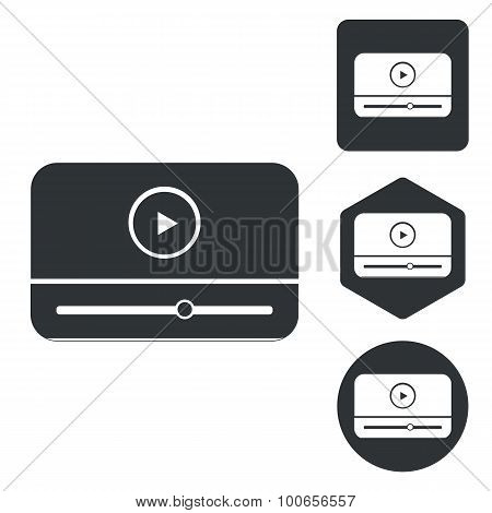 Mediaplayer icon set, monochrome