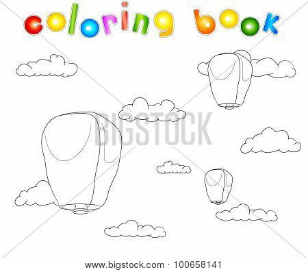 Pingsi Lantern In The Blue Sky With Clouds. Coloring Book