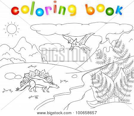 Dinosaurs Stegosaurus And Pterodactyl On A Background Of  Prehistoric Nature: Mountains, Sea And Fer