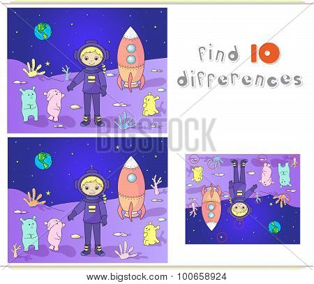 Cute and friendly martians greeting astronaut on their planet. Cosmonaut landed on the moon's surface. Educational game for kids: find ten differences. poster