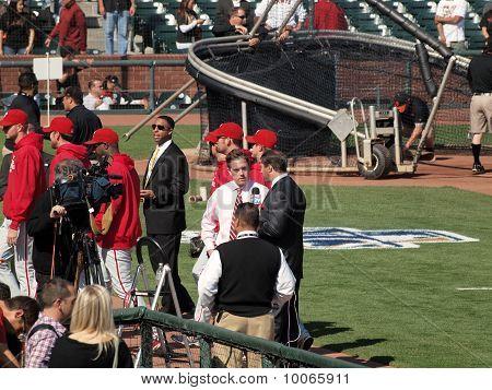 Media People Talking As Phillies Walk Off Field At End Of Batting Practice