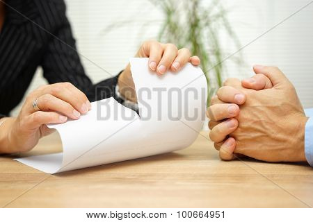 On Meeting Woman  Tearing The Document From His Colleague Or Partner