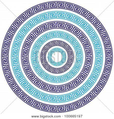 Vector Set of Six Round Greek Key Borders of Various Sizes