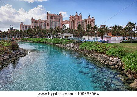 Sun blue sky and puffy clouds at Atlantis hotel Paradise Island Bahamas