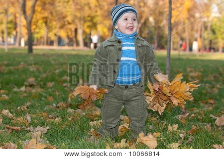 Toddler Walking In The Autumn Park