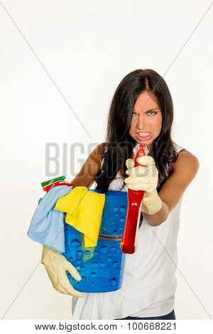 a young woman is annoyed that they have to do the housecleaning.