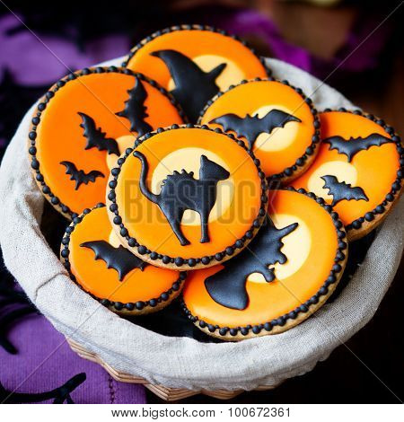 Basket of Halloween cookies