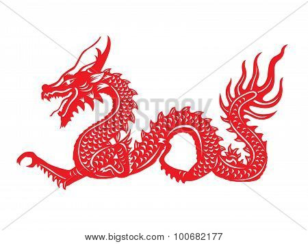 Red paper cut a Dragon china zodiac symbols